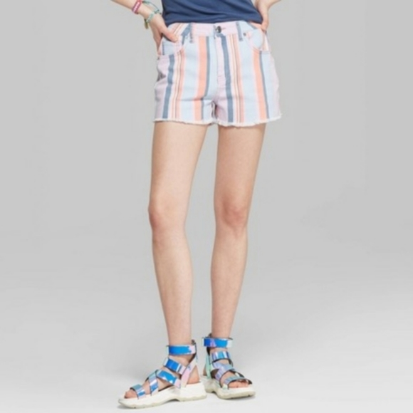 Wild Fable Pastel Striped High Rise Denim Shorts